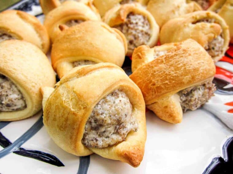 plate of sausage & cream cheese crescents