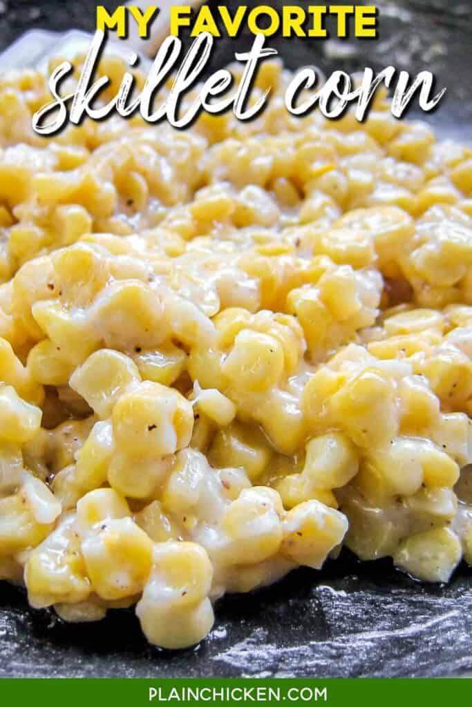 skillet of homemade creamed corn
