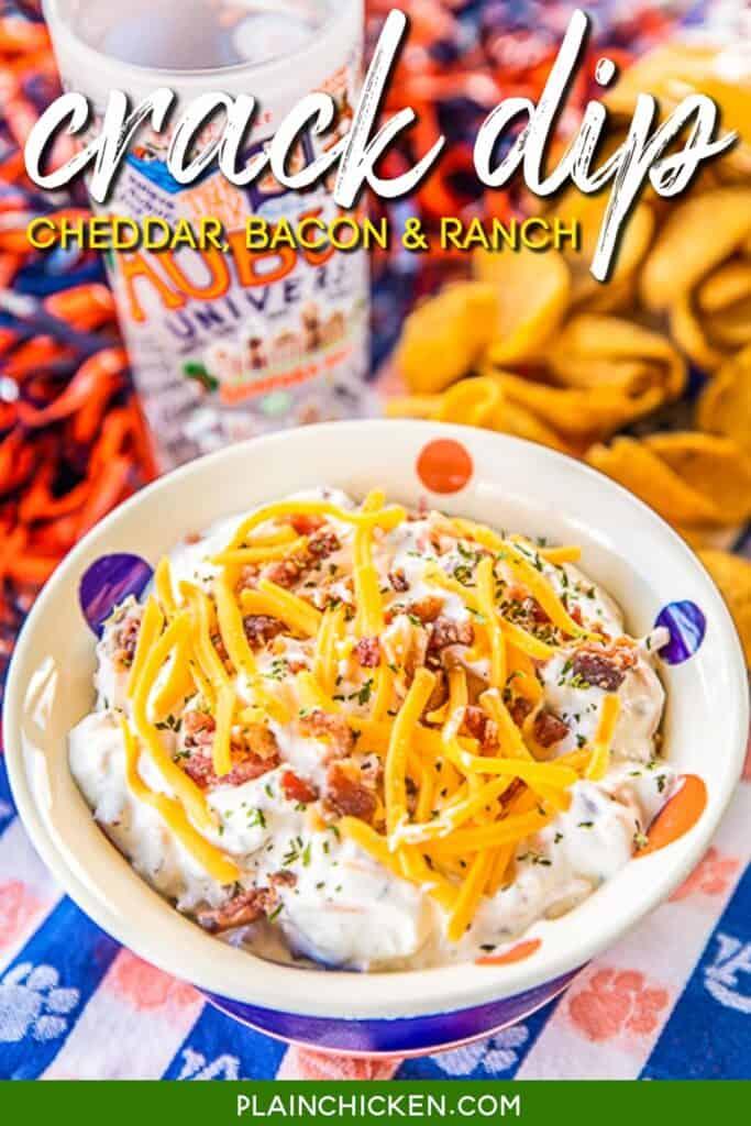 bowl of cheddar bacon ranch crack dip