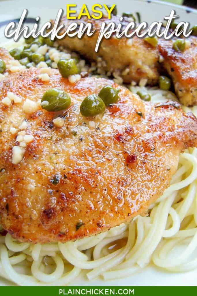 chicken piccata over pasta