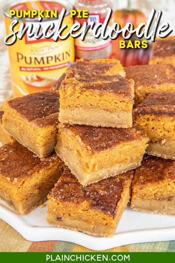 plate of pumpkin pie snickerdoodle cookie bars