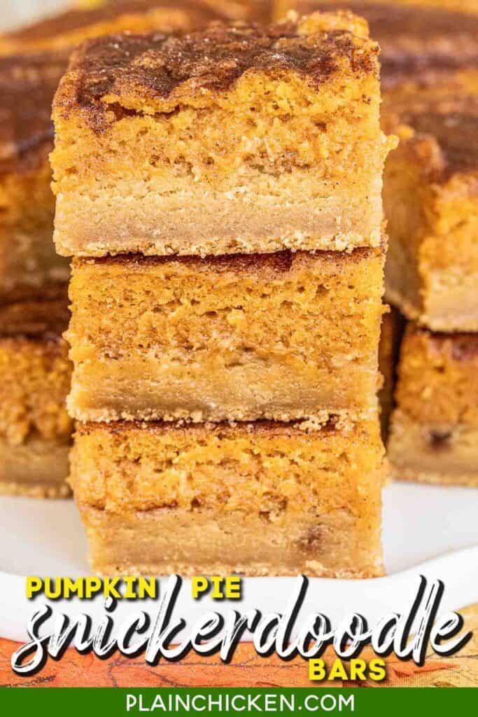 stack of 3 pumpkin cookie bars