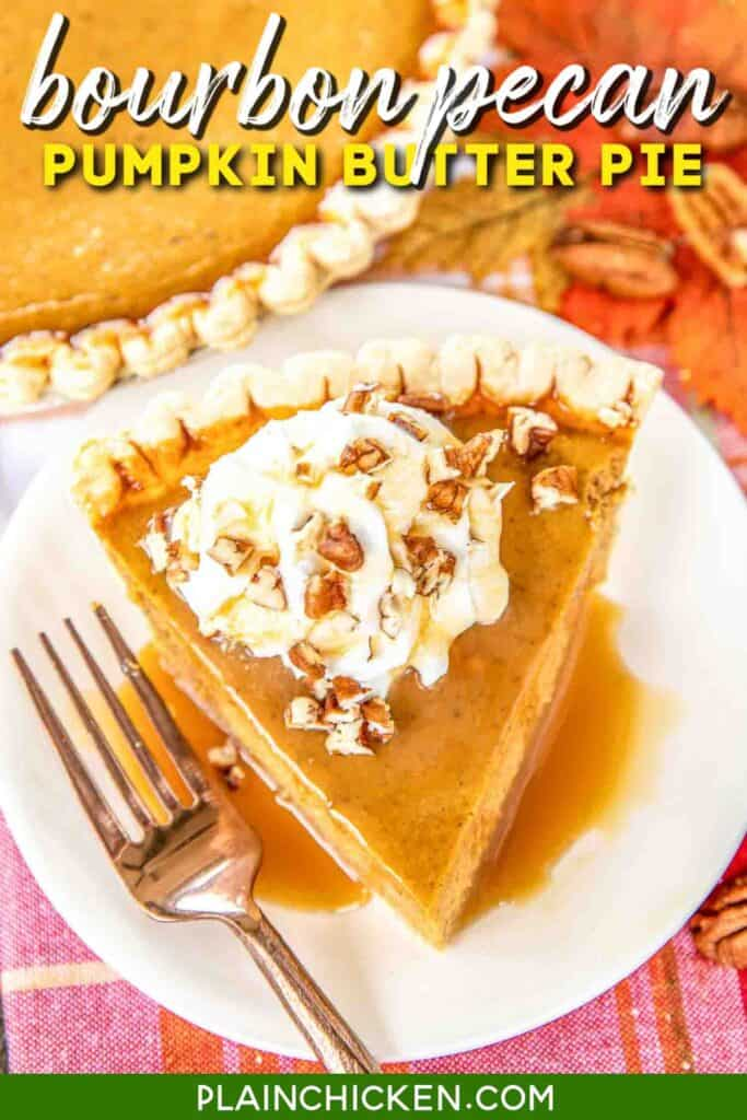 slice of pumpkin pie on a plate with caramel and whipped cream