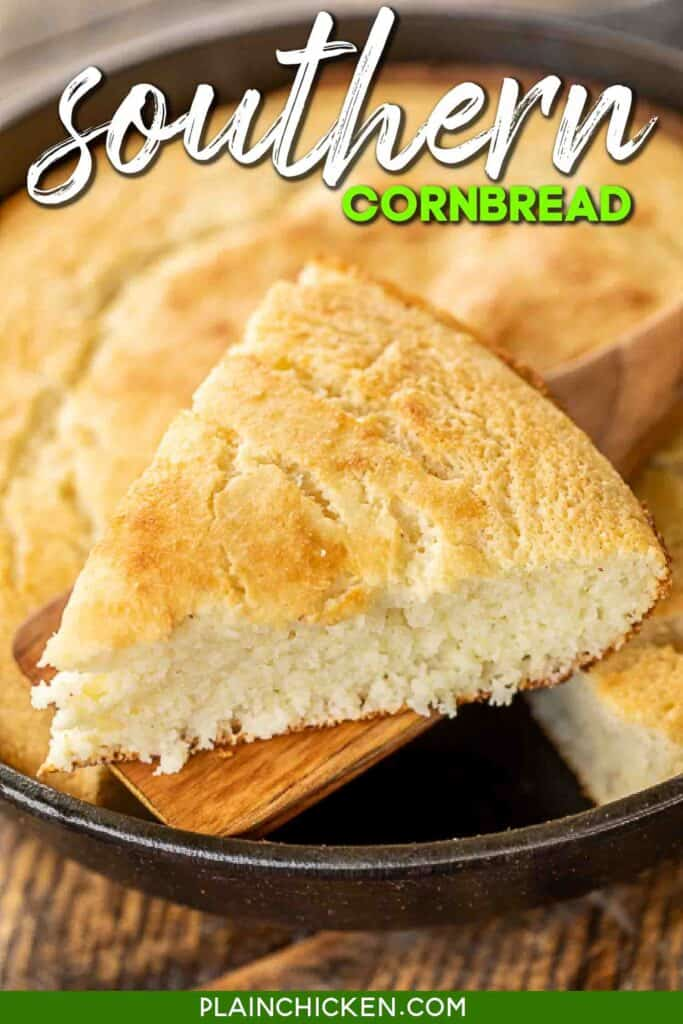 slice of cornbread on spatula