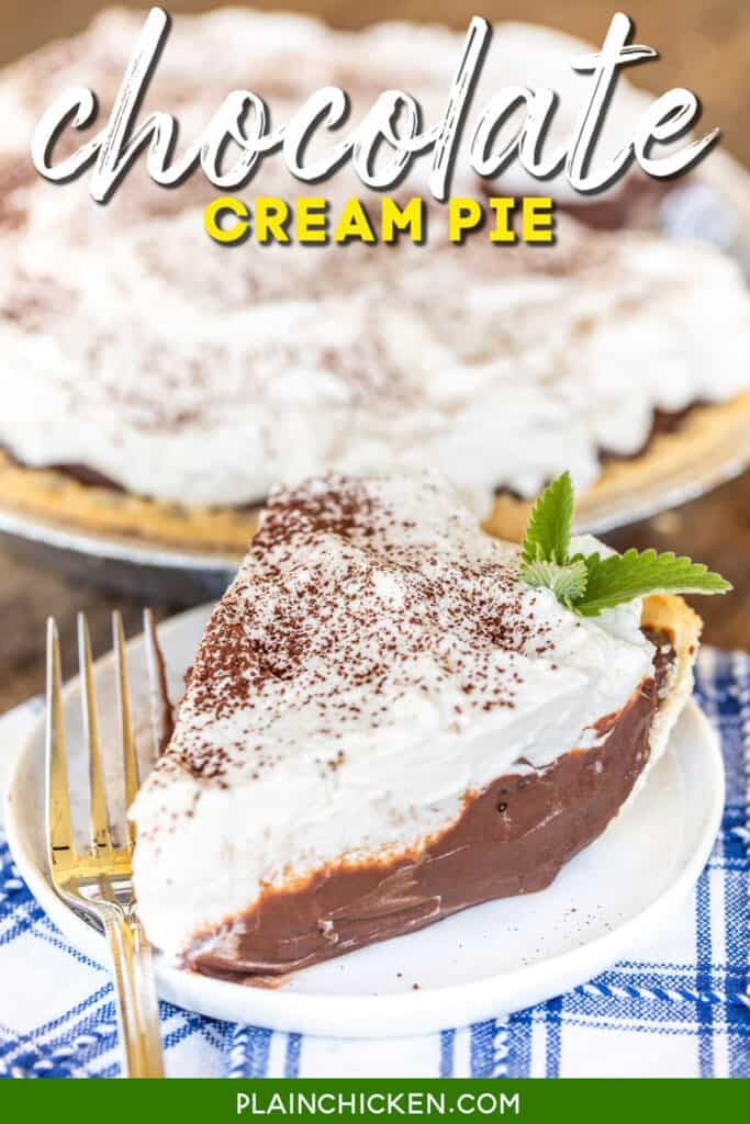 slice of chocolate cream pie with whipped cream on a plate