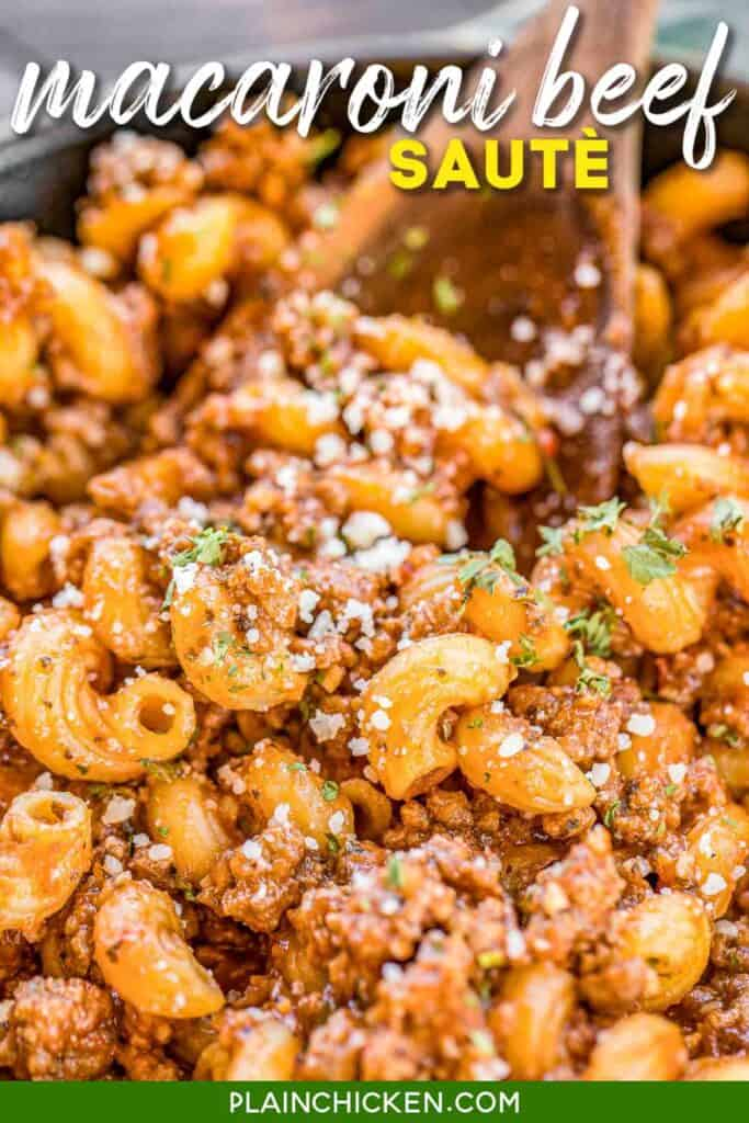 skillet of macaroni and beef pasta