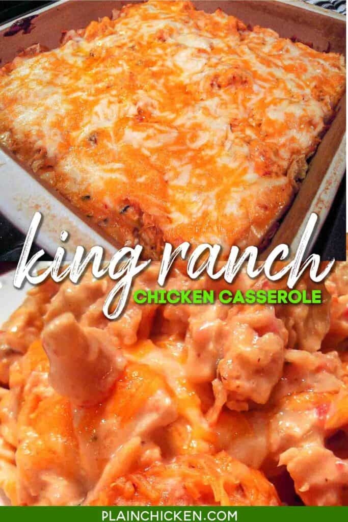 two photos of king ranch chicken casserole