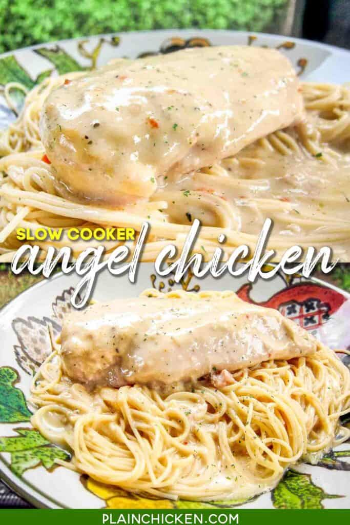 2 photos of chicken over angel air pasta