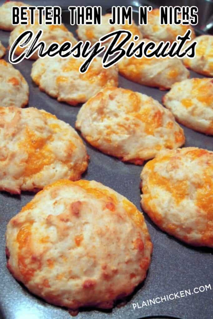 baking pan of cheese biscuits