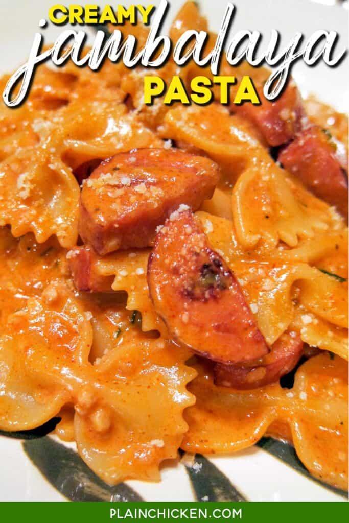 bowl of sausage jambalaya pasta