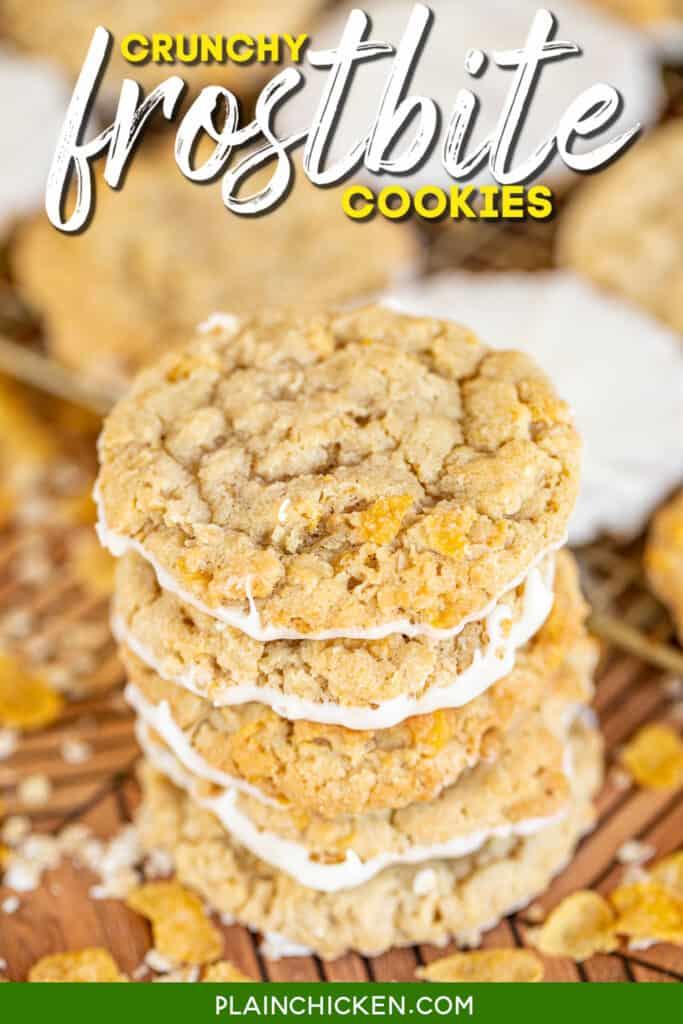 stack of oatmeal cornflake cookies