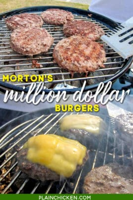 2 photos of burgers cooking on the grill