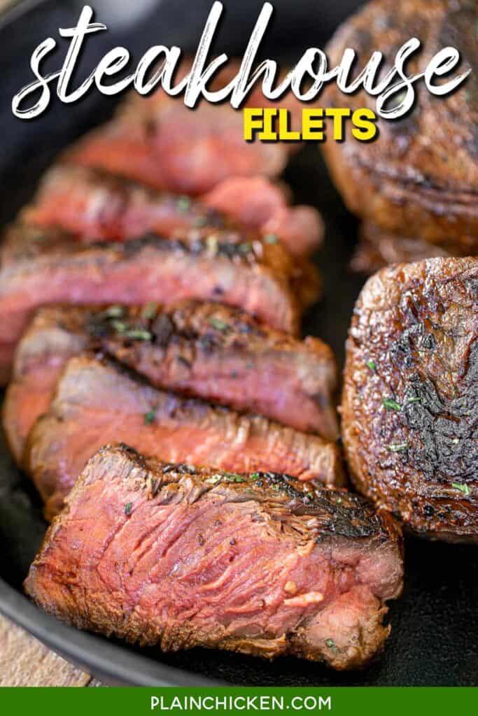 sliced steak in a skillet