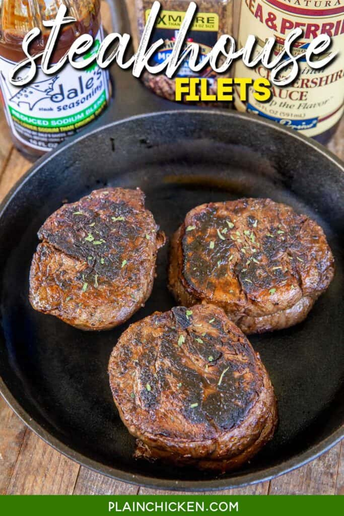 3 steaks in a skillet