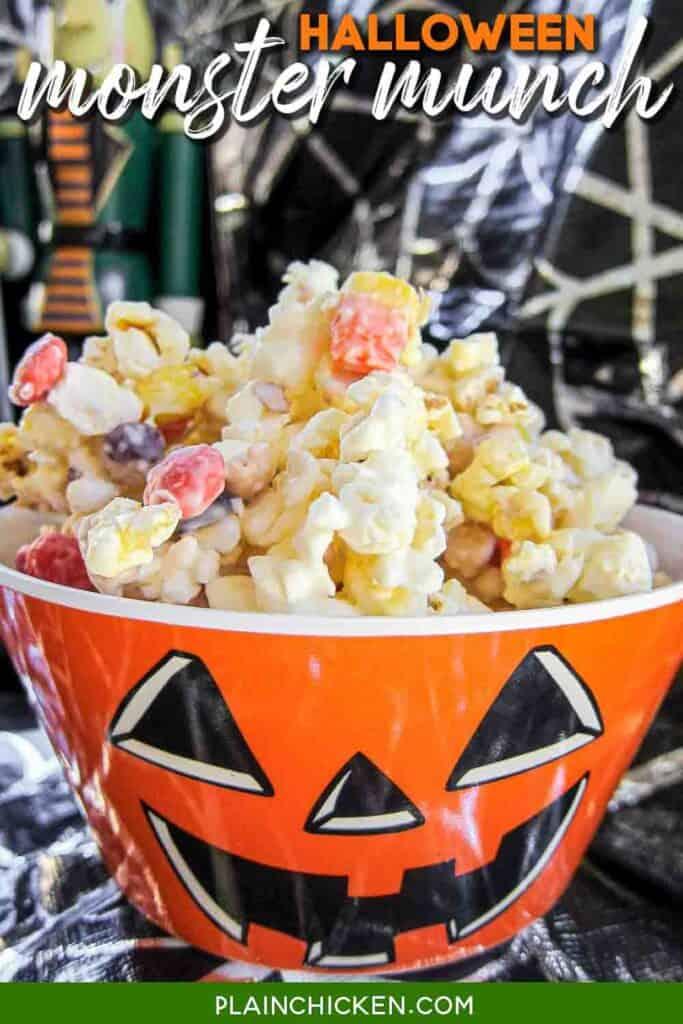 bowl of halloween popcorn snack mix