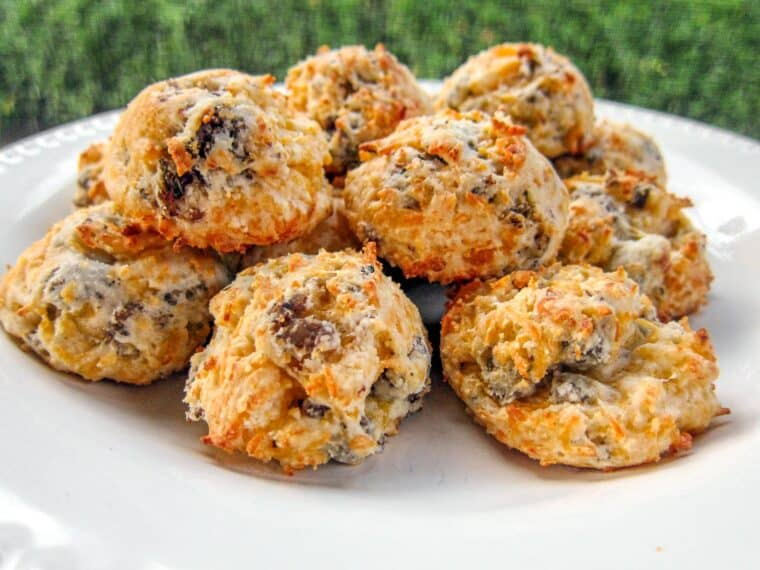 plate of sausage biscuit puffs