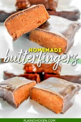 2 photos of homemade butterfinger candy