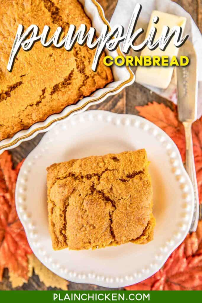 slice of pumpkin cornbread on a plate