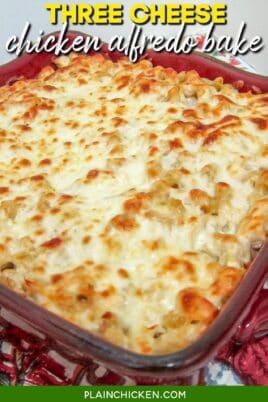 baking dish of 3 cheese chicken alfredo bake