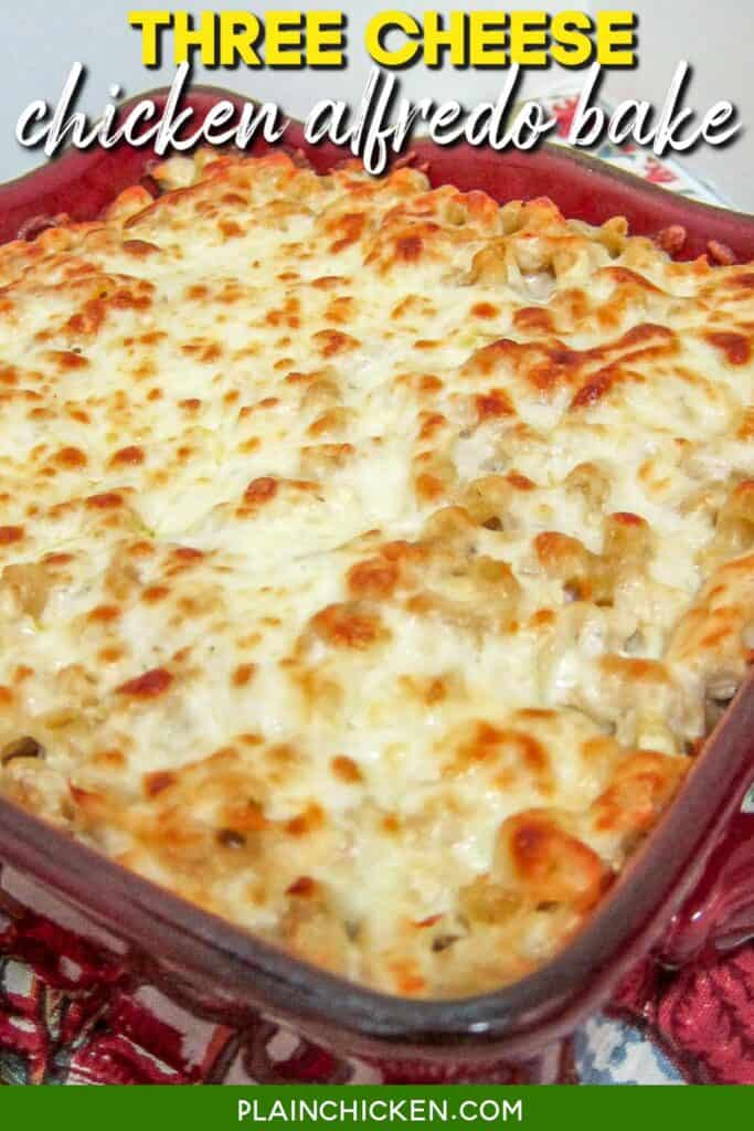 baking dish of 3 cheese chicken alfredo bake