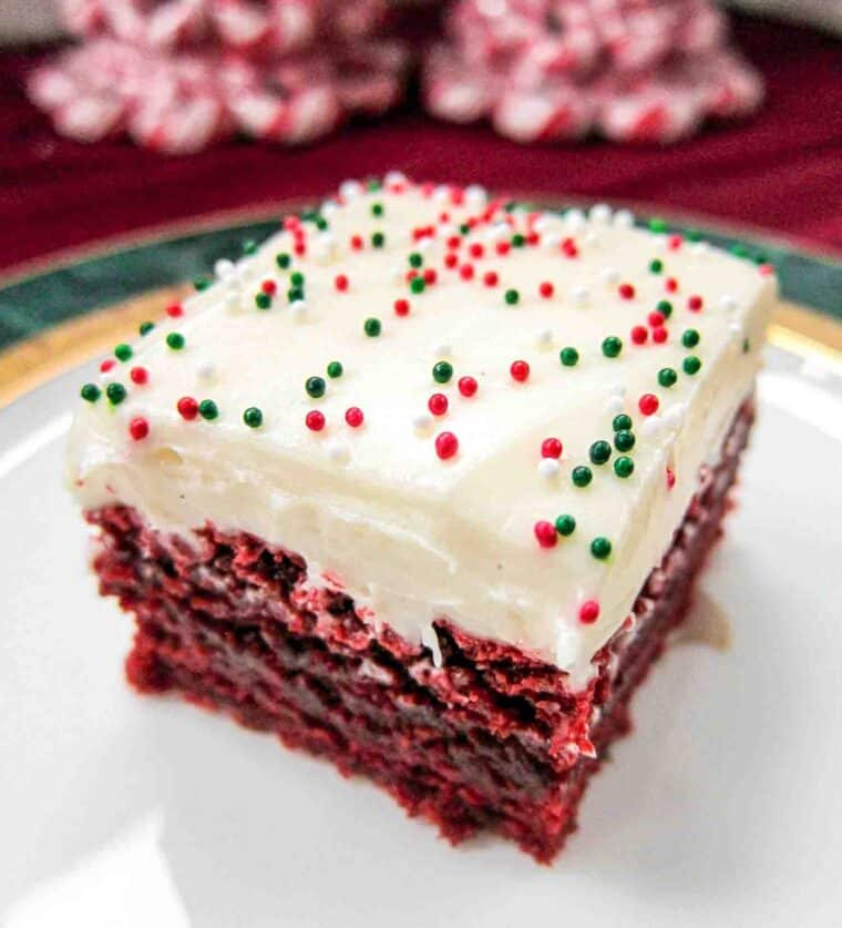 red velvet brownie with cream cheese frosting on a plate