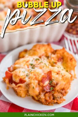 plate of bubble up pepperoni pizza casserole