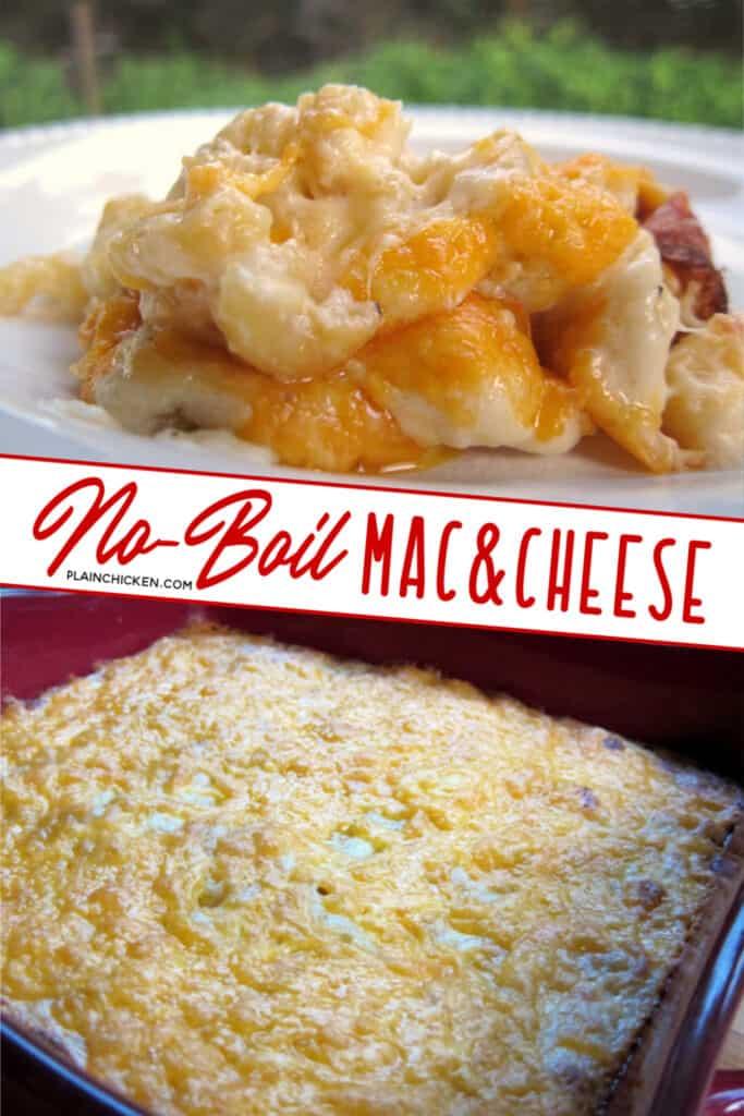 2 photos of macaroni & cheese