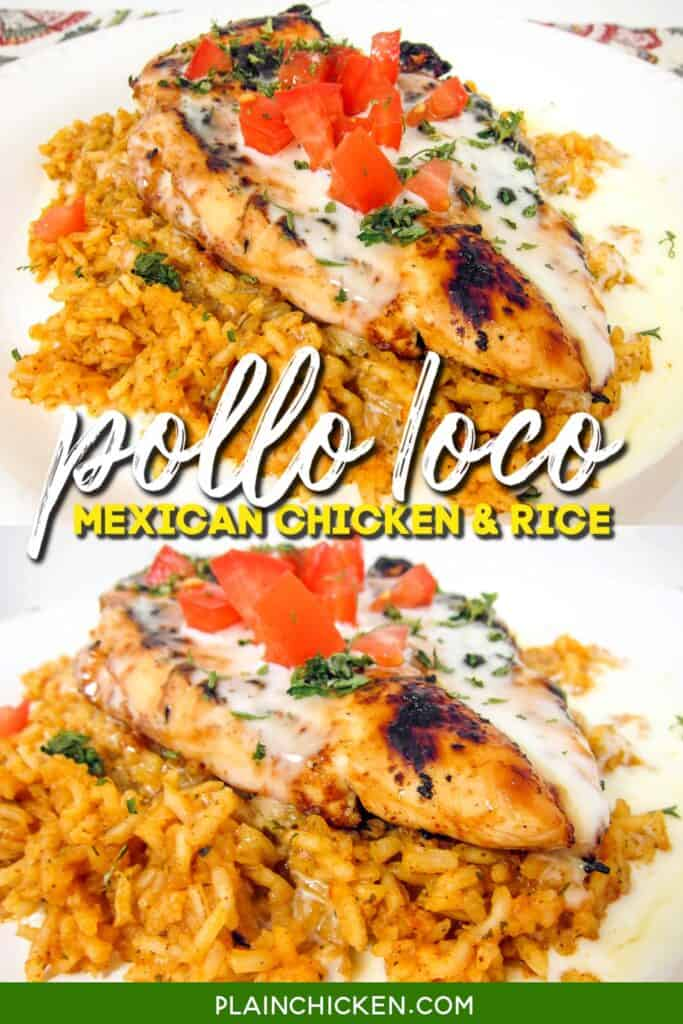 2 photos of chicken and rice