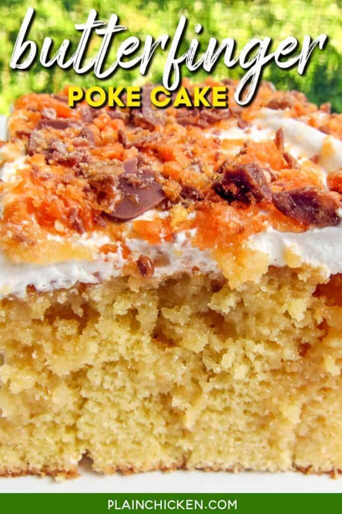 slice of butterfinger poke cake on a plate