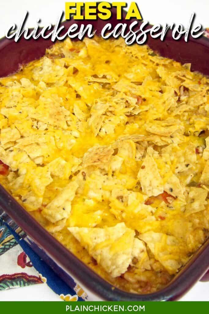 baking dish of tortilla chip chicken casserole
