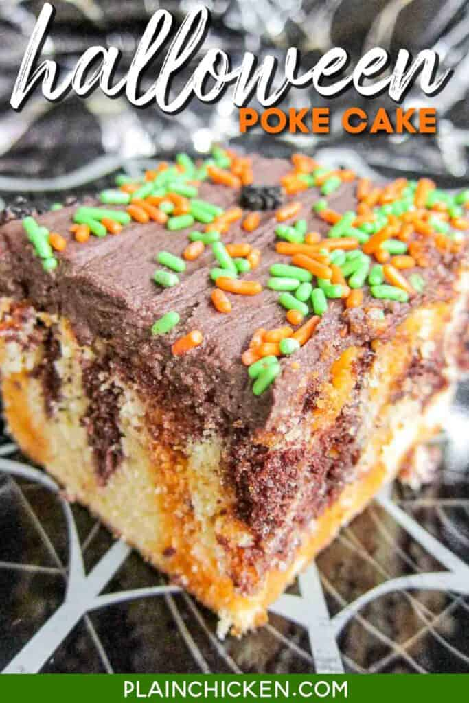 slice of halloween poke cake with sprinkles