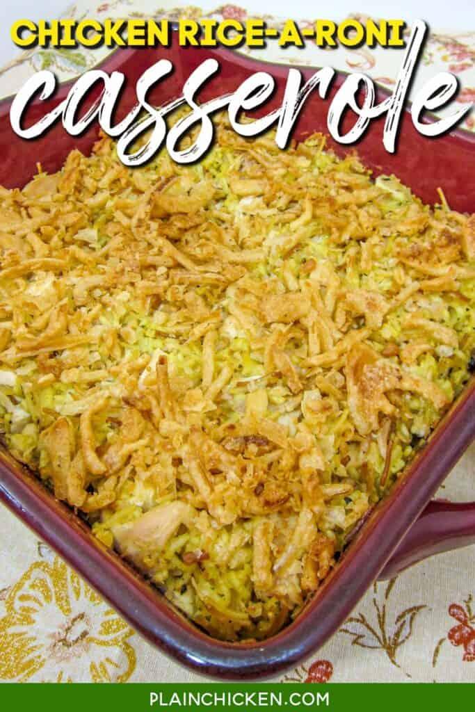 baking dish of chicken rice-a-roni casserole