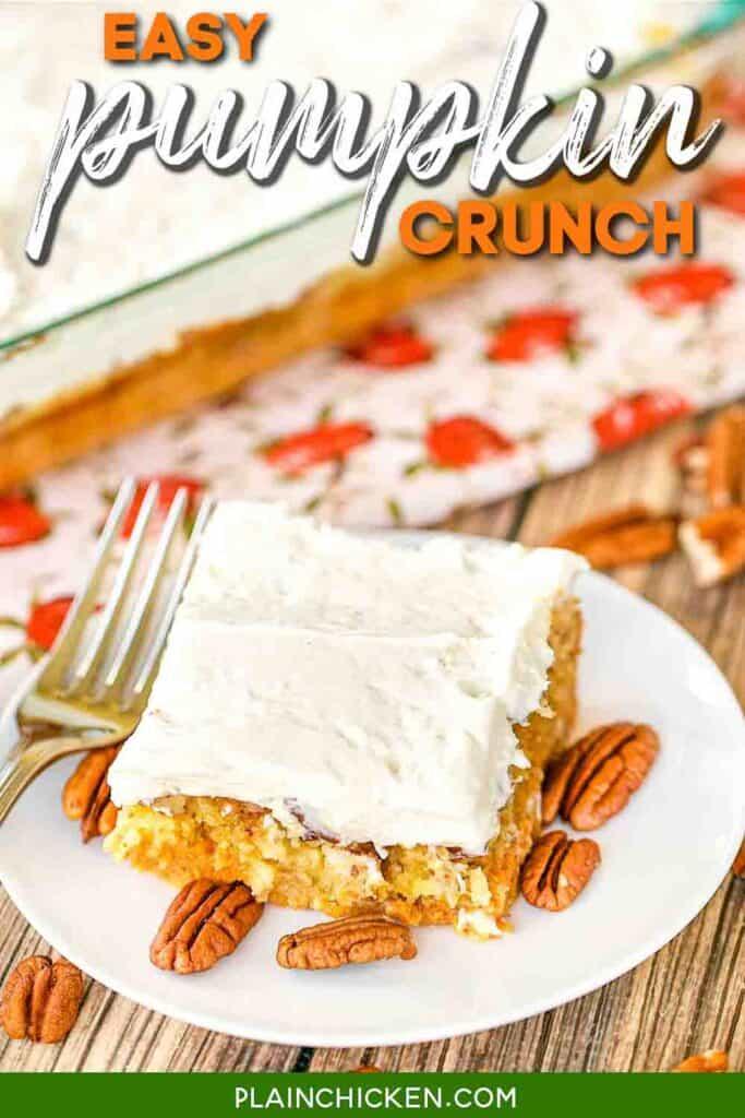 slice of pumpkin crunch cake