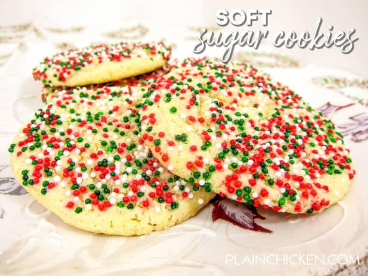 plate of sugar cookies covered in sprinkles