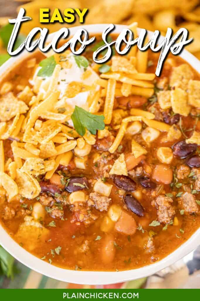 bowl of taco soup with fritos