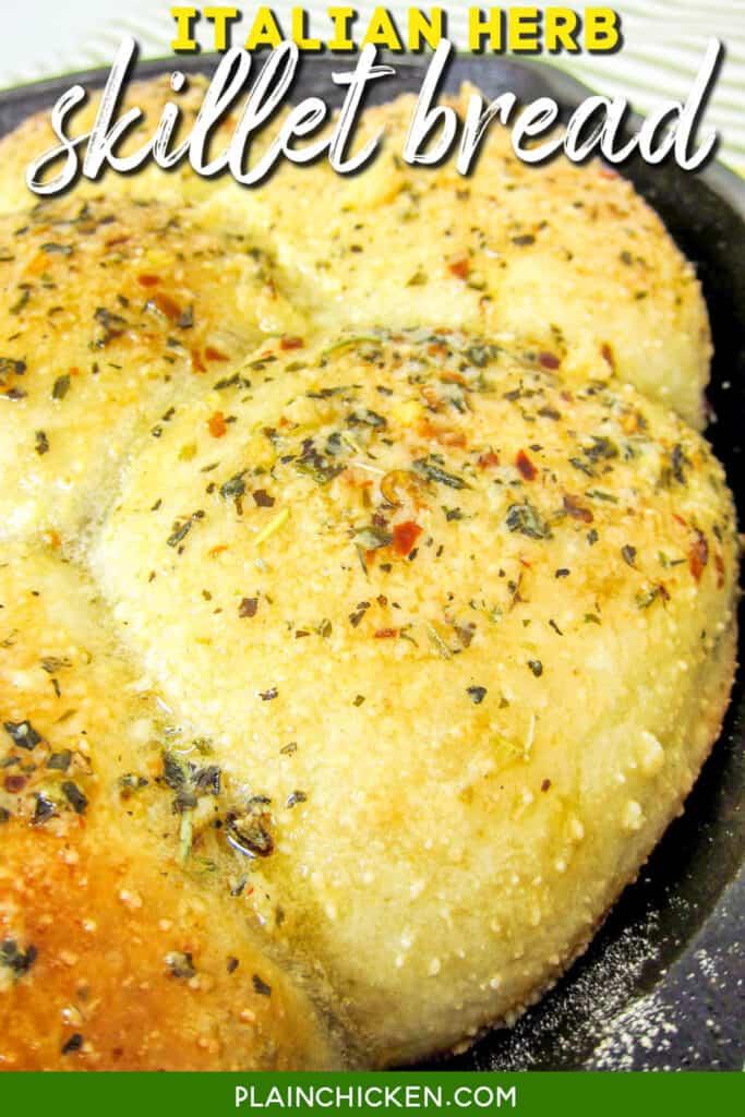 skillet of italian herb bread