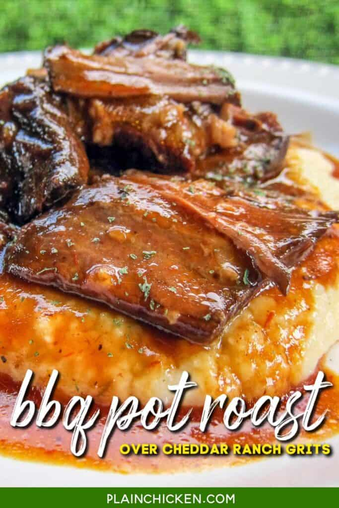 plate of bbq pot roast over grits