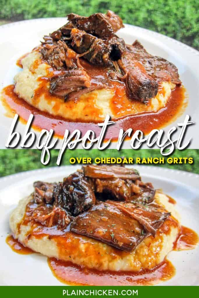 2 photos of plate of bbq pot roast over grits
