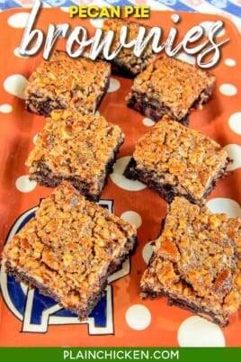 platter of pecan pie topped brownies