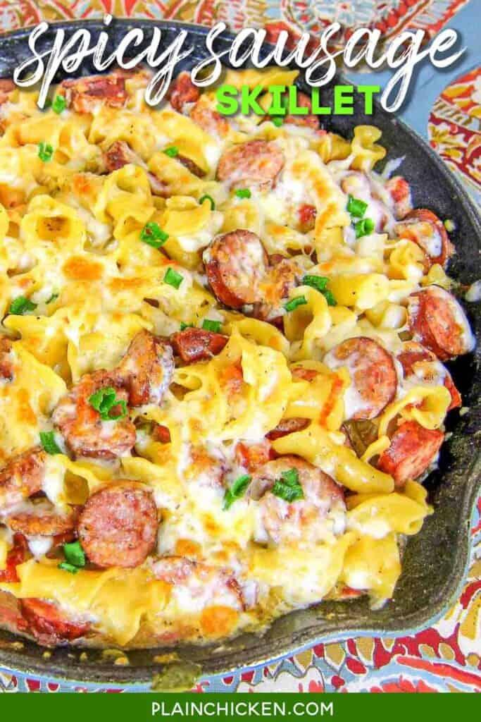 skillet of smoked sausage pasta