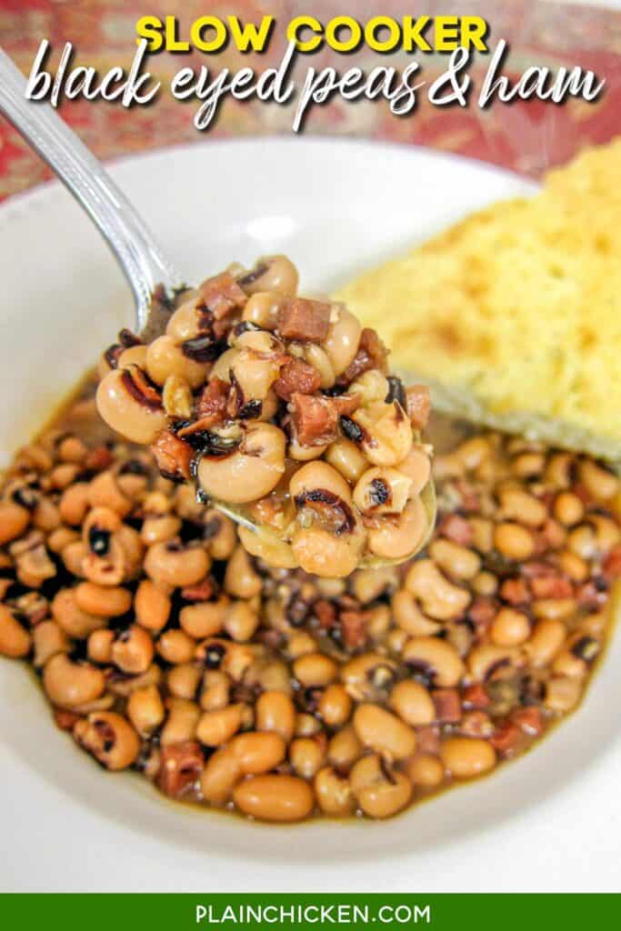 bowl of black eyed peas and ham with cornbread
