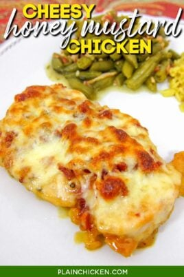 chicken covered with cheese and bacon on a plate