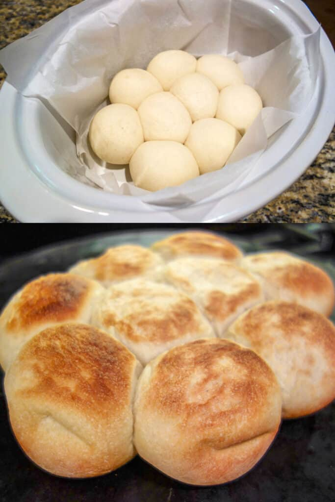 collage of 2 photos of cooking rolls in the slow cooker