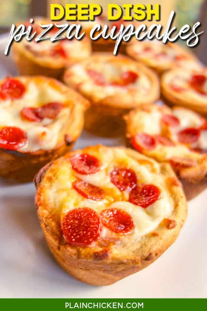 platter of pepperoni pizza cups