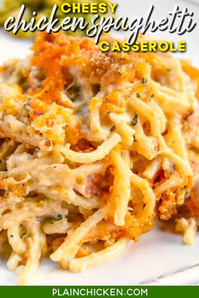 plate of chicken spaghetti casserole