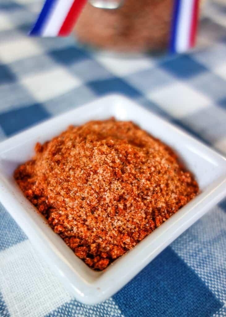small dish of homemade bbq seasoning