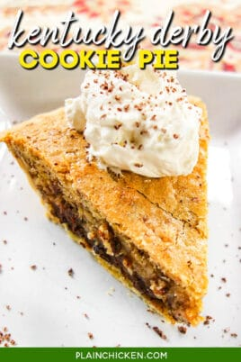 slice of cookie pie topped with whipped cream