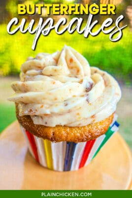 butterfinger cupcake on a stand