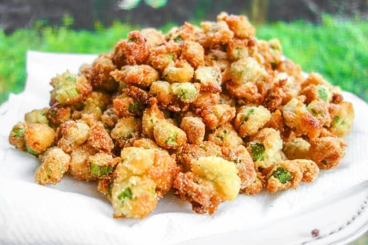 plate of fried okra