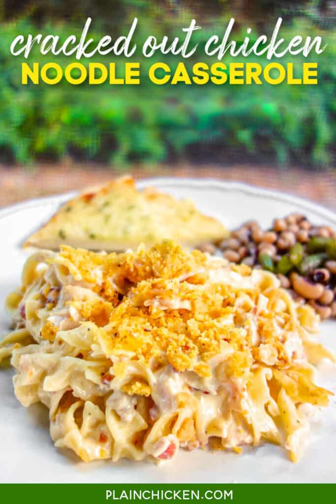plate of crack chicken noodle casserole